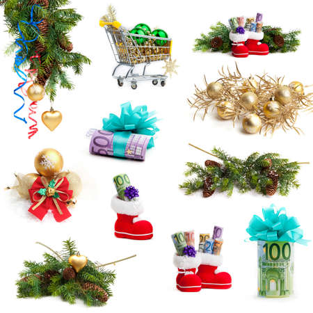 Christmas collection isolated on white background. money as a gift photo