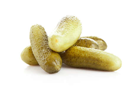 pickled cucumbers. Gherkins on a white background 写真素材