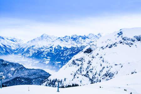Winter landscape.  Alpine Alps mountain landscape photo