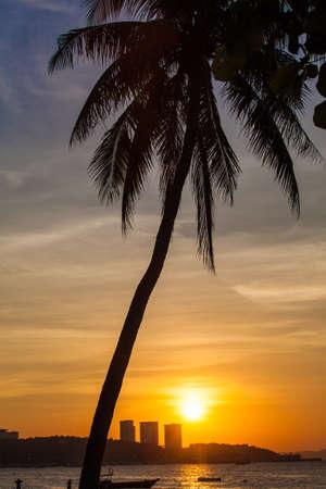 Sunset at Pattaya. Beautiful sunset on the beach in Pattaya photo
