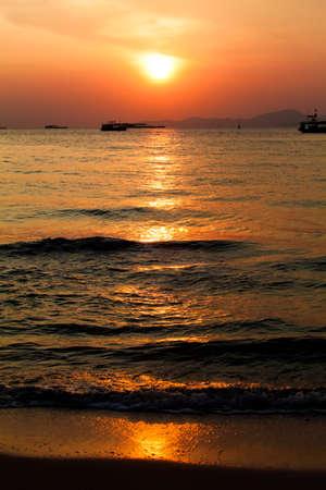 sunset boat in Thailand. Fishing boat sunrise photo