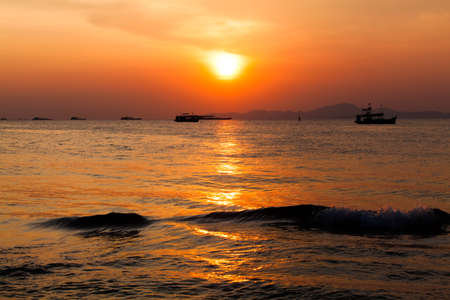 sunset boat in Thailand. Fishing boat sunrise photo