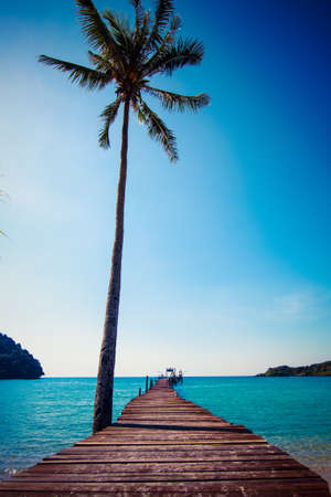 Tropical Resort. boardwalk on beach photo