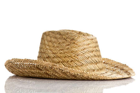 straw hat isolated on a white  photo