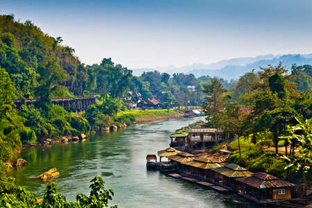 rivers mountains: River Kwai Stock Photo
