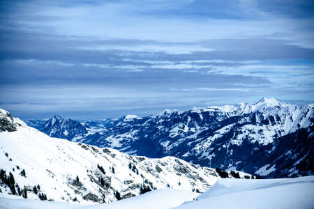 snowcapped: top of mountains. High mountains under snow