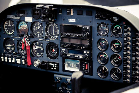 cockpit detail. Cockpit of a small aircraft Stock Photo
