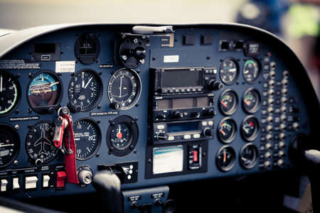 cockpit detail. Cockpit of a small aircraft Editorial