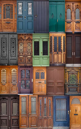 20 different European front entrance doors. set of colorful wooden doors photo