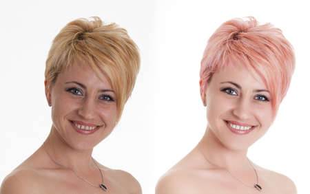 retouch: Woman portrait before and after computer retouching. Face of beautiful woman before and after retouch Stock Photo