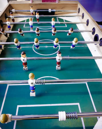 Table football game.  Close up of plastic table football game photo