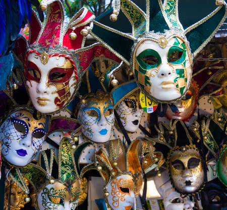 venetian mask: Various venetian masks on sale .  colorful artistic masks on the Carnival of Venice Stock Photo