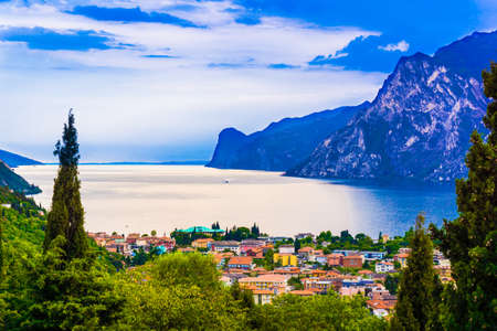 riva del garda.  Mountain lake Lago di Garda Stock Photo