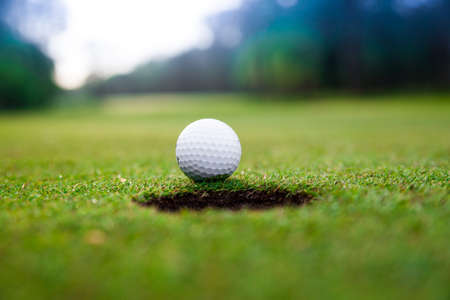 Golf ball on green meadow.  golf ball on lip of cup photo
