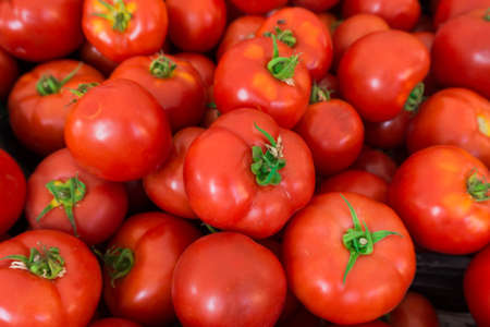 red tomatoes at the market.