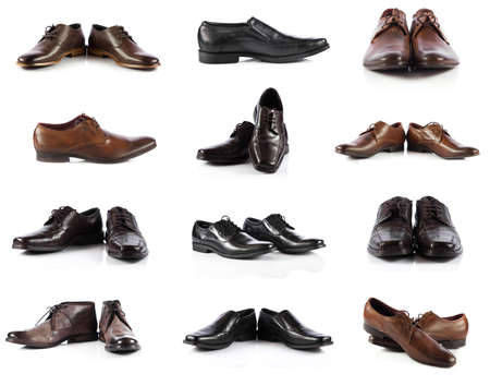 Male shoes collection. men shoes over white  Standard-Bild