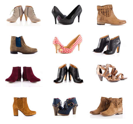 female footwear. female shoes over white. Collection of various types of female shoes Фото со стока