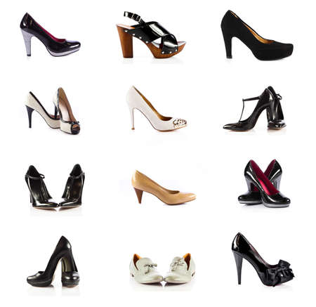 female footwear. female shoes over white. Collection of various types of female shoes Stok Fotoğraf