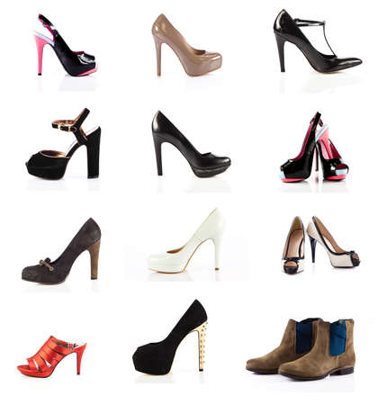 summer shoes: female footwear. female shoes over white. Collection of various types of female shoes Stock Photo