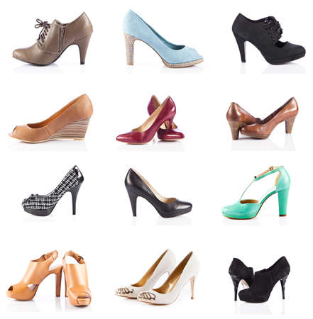 female footwear. female shoes over white. Collection of various types of female shoes photo