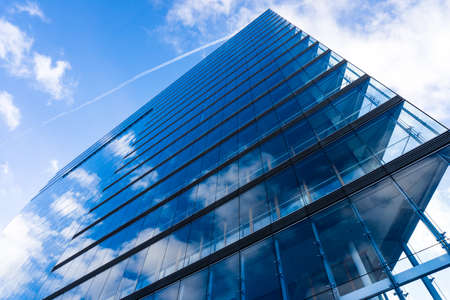 blue glass wall of skyscraper.  Buildings abstract Stock Photo