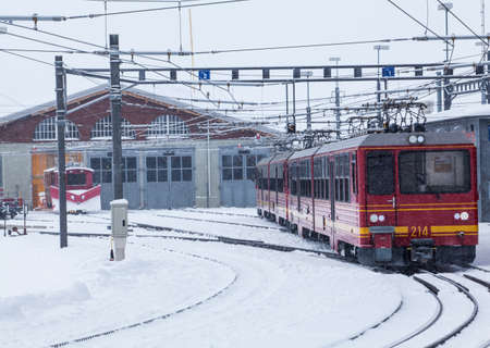 Train station in the Swiss Alps. JUNGFRAU, SWITZERLAND. Mountain Train