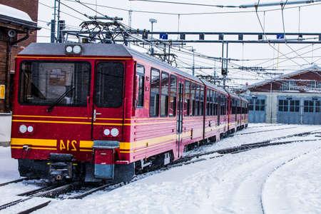 jungfraujoch: Train station in the Swiss Alps. JUNGFRAU, SWITZERLAND. Mountain Train