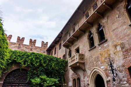The famous balcony of Romeo and Juliet in Verona, Italy. Juliets balcony
