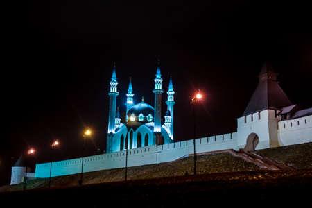 designated: Russia. Tatarstan. Kazan. Kazan Kremlin and Illuminated Kul Sharif mosque at night. Kremlin fortress in Kazan has been designated by UNESCO as World Heritage Site.
