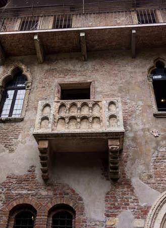 The famous balcony of Romeo and Juliet in Verona, Italy. Juliets balcony photo