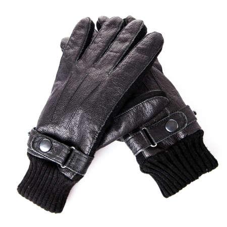 leather gloves: Black leather gloves. Mens black leather gloves