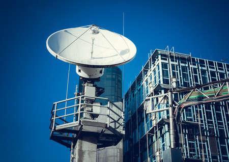 satellite dish: Satellite dish.  Telecommunication Satellite Stock Photo