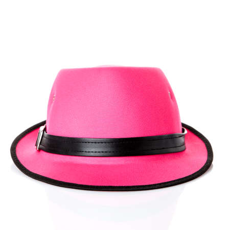 pink hat: pink hat on white background Stock Photo