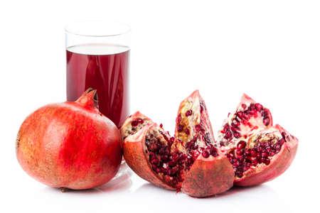 grenadine: Pomegranate isolated on white background. Pomegranate juice Stock Photo