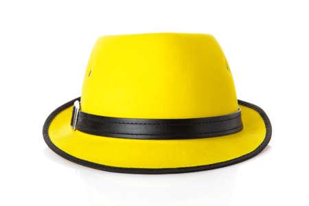 chapeau de paille: jaune chapeau de paille isol� sur blanc Banque d'images