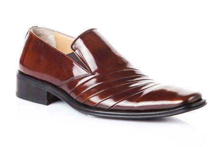 mules: brown shoes pair.  Fashion concept with male shoes on white