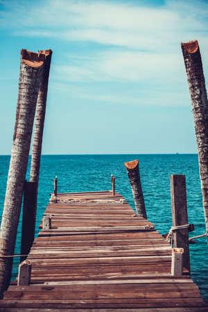 pontoon: Walkway .  Pier over Waters. Wooden pontoon