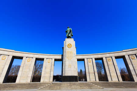 soviet: Soviet War Memorial in Berlin Tiergarten, Germany. Monument Of Soviet Soldiers Editorial