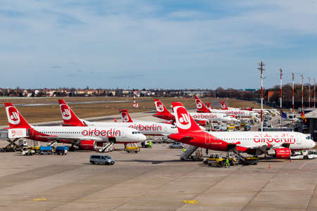 BERLIN, GERMANY - MARCH 22, 2015: Berlin, Germany. Homebase of Air Berlin is Tegel airport. The AirBerlin is the second largest airline in Germany. 報道画像