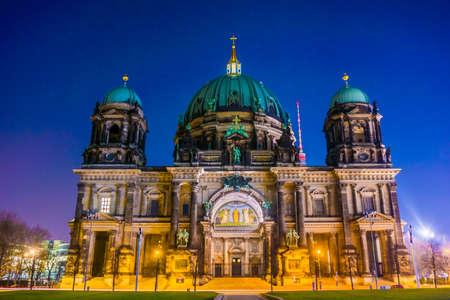 dom: Berliner Dom in the night. Berlin Cathedral (Berliner Dom)  BERLIN. Germany