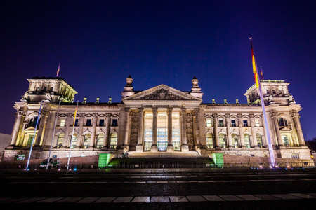 gloaming: the Reichstag in Berlin at night, Germany