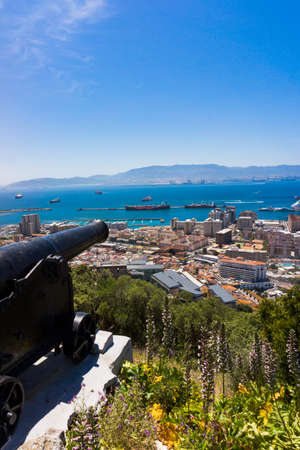 cannon gun: Cannon in Gibraltar.  gun, Gibraltar, United Kingdom, Western Europe. Stock Photo