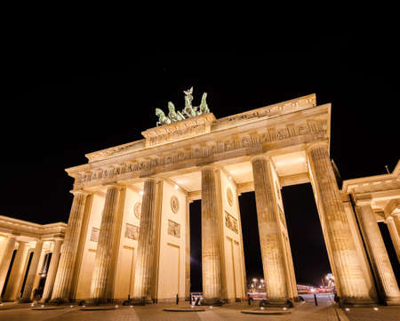 brandenburg: Brandenburg gate at night, Berlin. Stock Photo