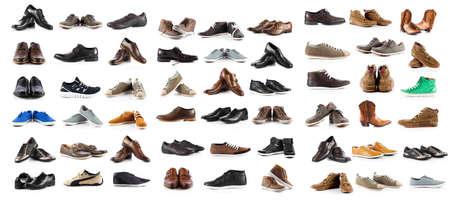 흰색 배경 위에 남성 신발 컬렉션