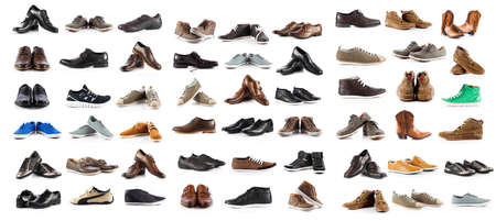 leather shoes: Collection of male shoes over white background Stock Photo