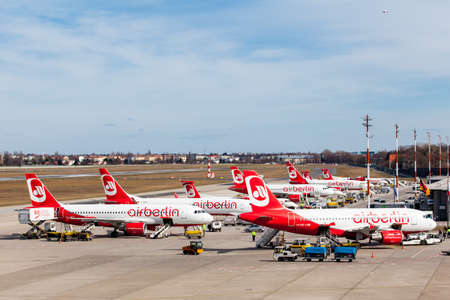 BERLIN GERMANY MARCH 22 2015: Berlin Germany. Homebase of Air Berlin is Tegel Airport. The Air Berlin is the second airline in Germany Largest. 報道画像