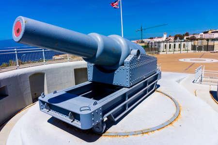 britannia: exhibit guns in Gibraltar.  Rule Britannia.  Old cannon installed at Europa Point on Gibraltar Editorial