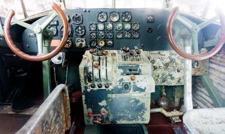 avionics: old airplane cockpit