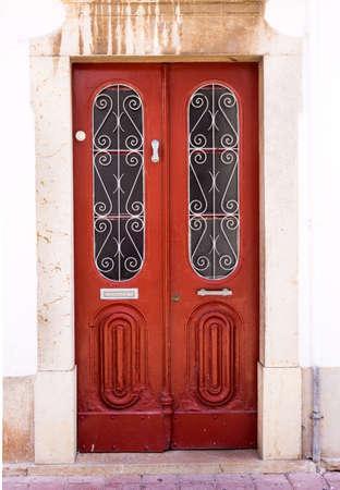 front house: entrance door in front of residential house.  wooden door Stock Photo