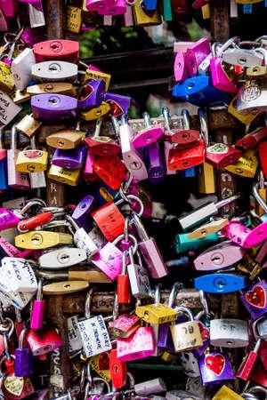 symbolically: Symbols of love in Verona, Juliet yard, Italy, Stock Photo